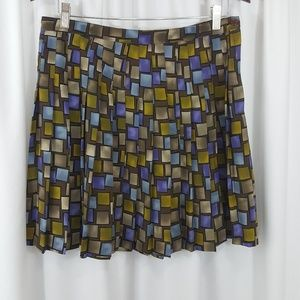 Express geometric print pleated career skirt